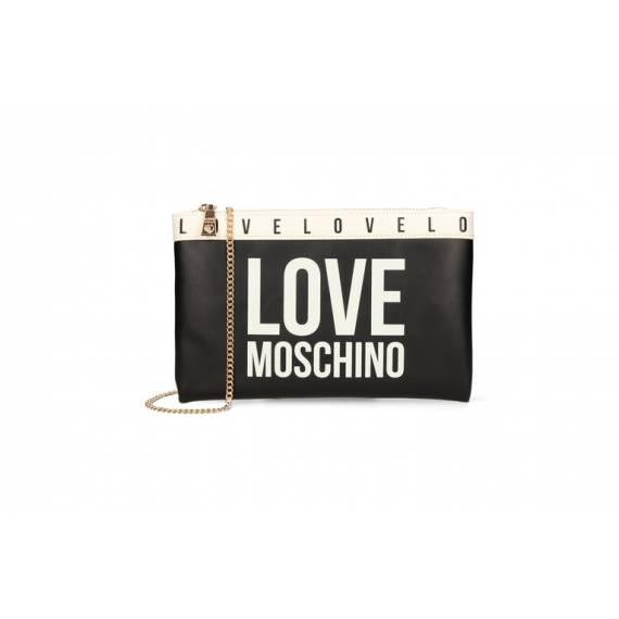 LOVE MOSCHINO POCHETTE NERA BIANCO